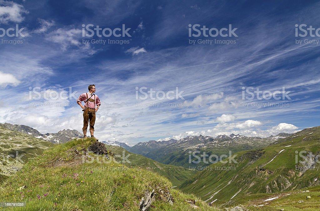 Proud mountaineer stock photo