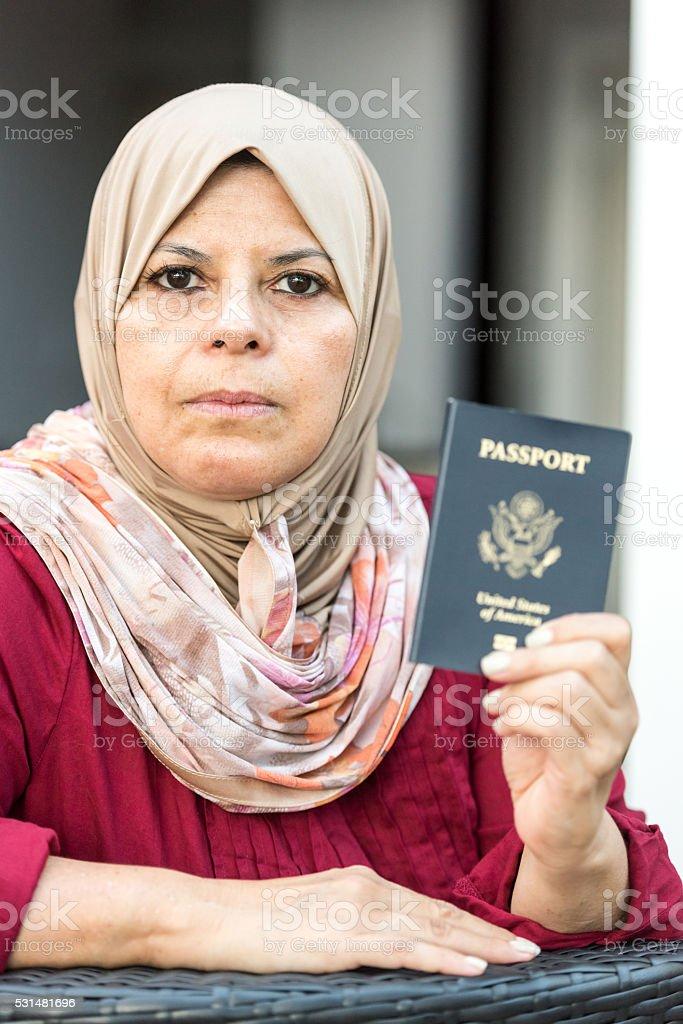Proud muslim american woman stock photo