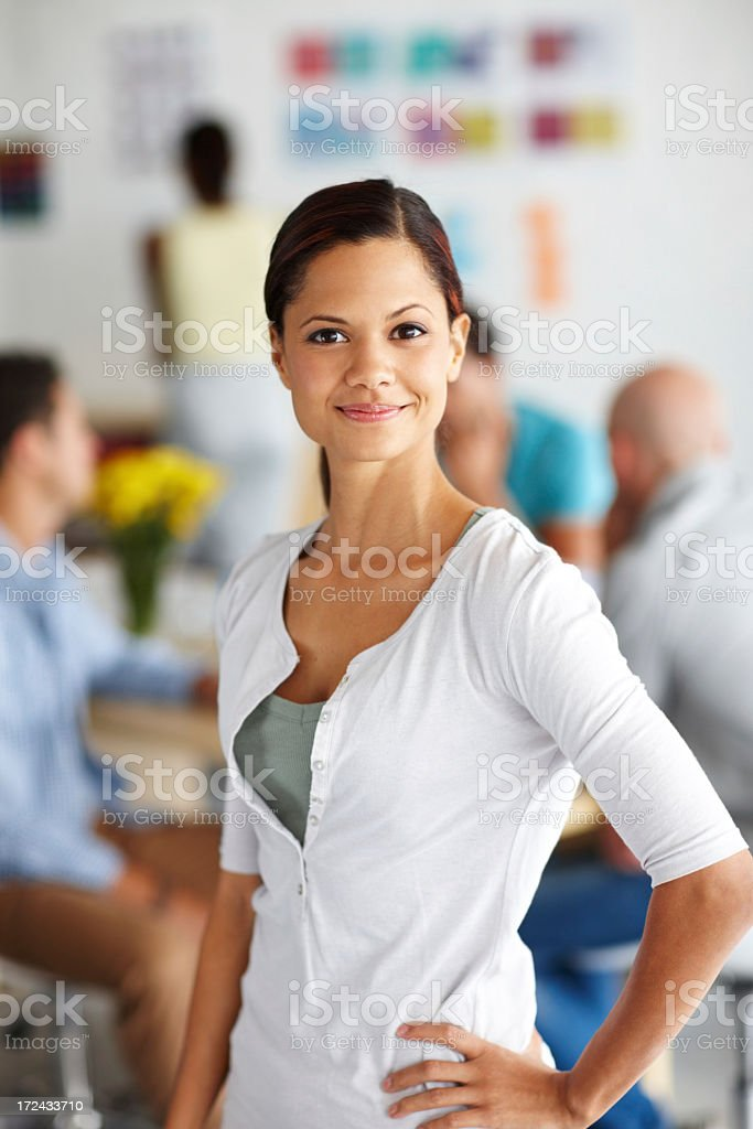 Proud of her design team royalty-free stock photo