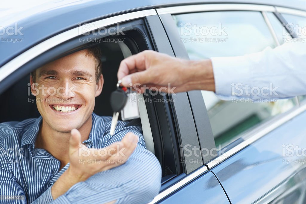 Proud of his new car royalty-free stock photo