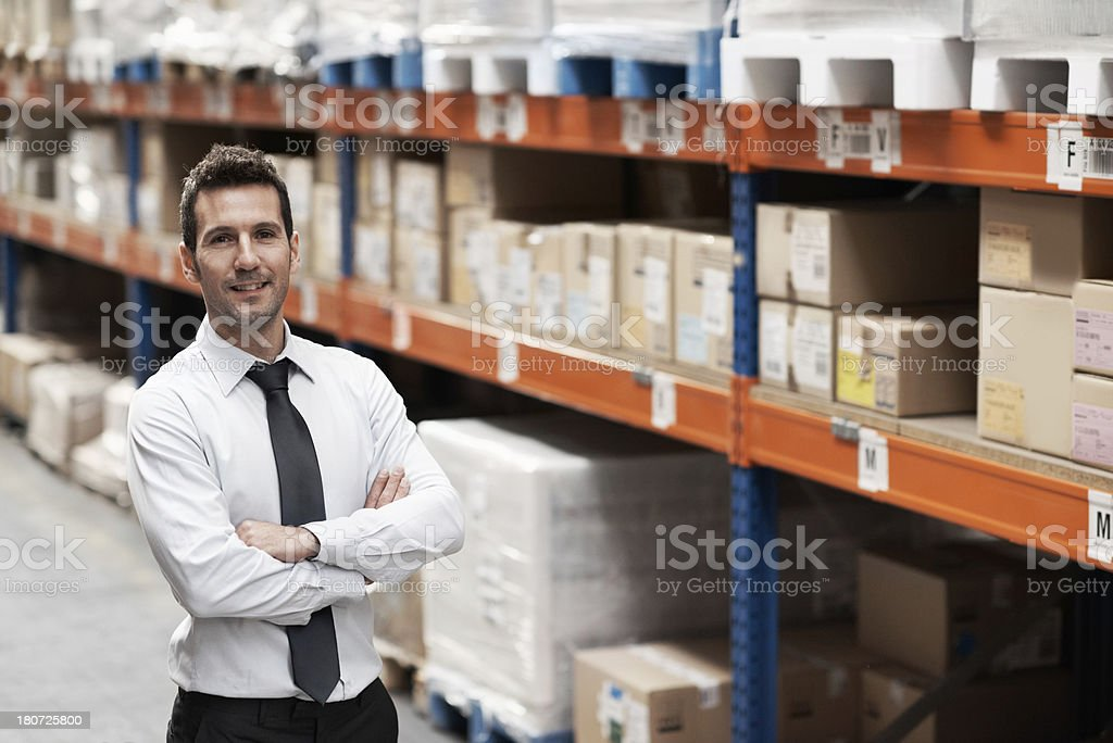 Proud of his organised warehouse royalty-free stock photo