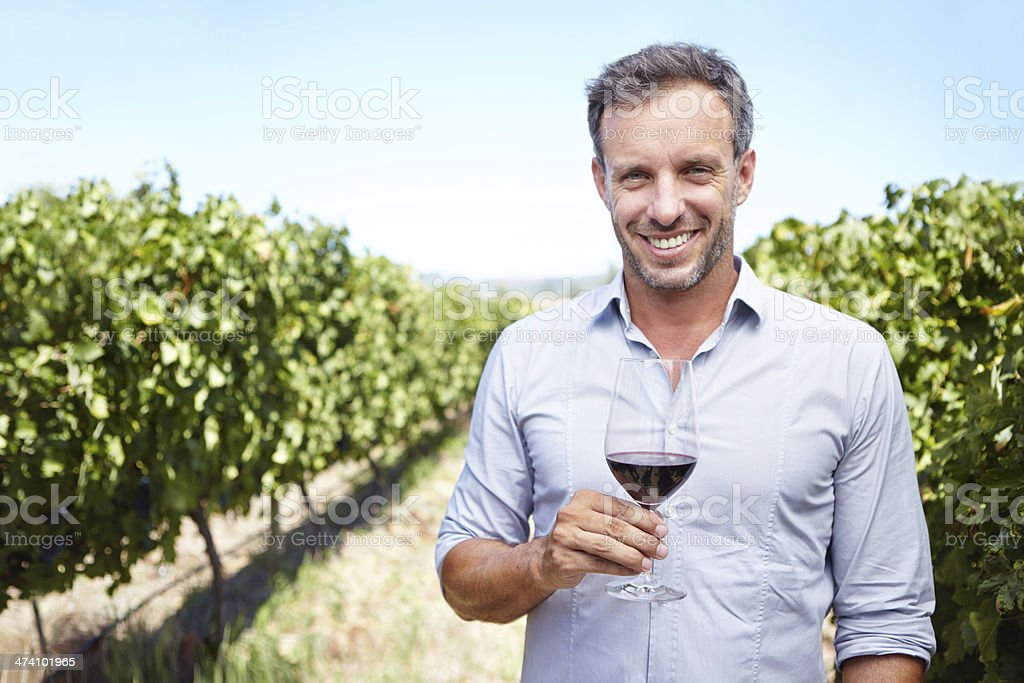 Proud of his wine royalty-free stock photo