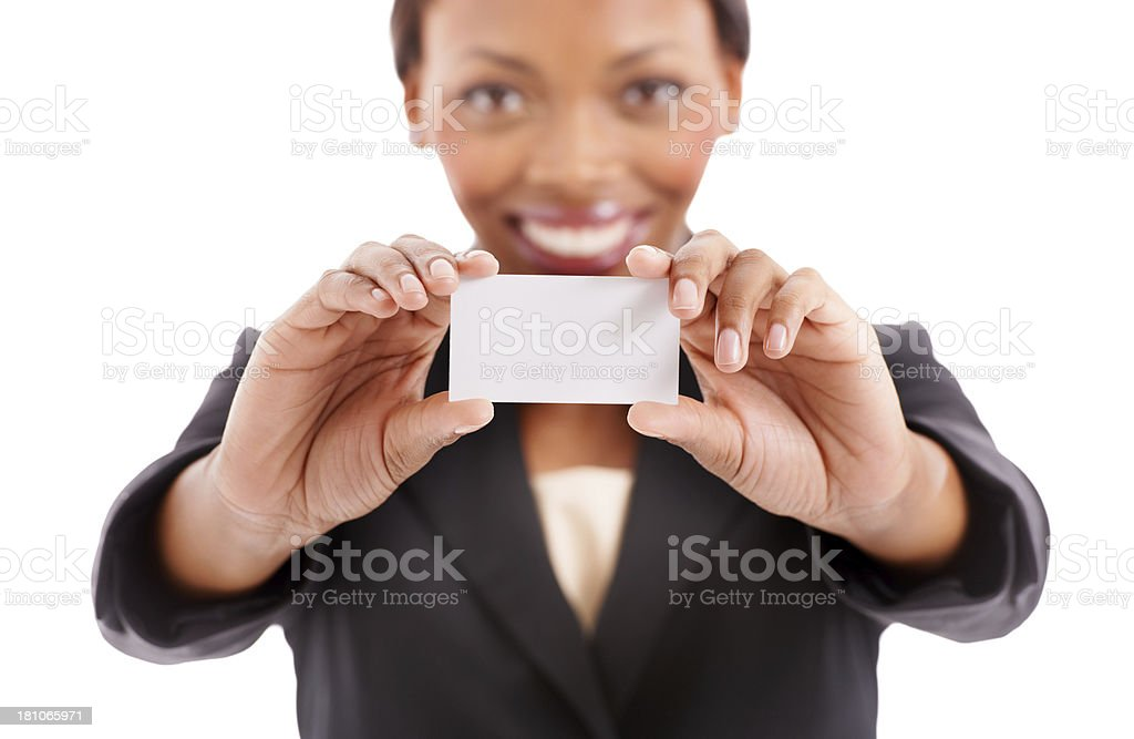 Proud of my new business card royalty-free stock photo