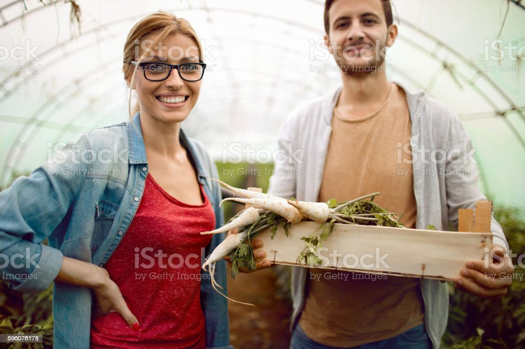 Proud of our greenhouse stock photo