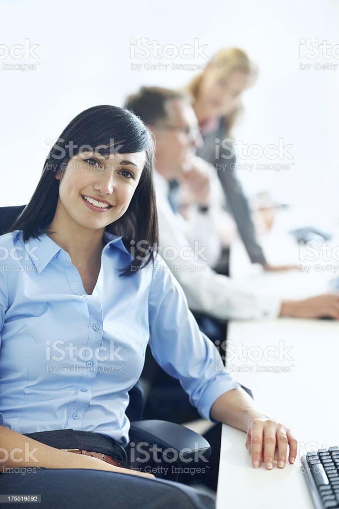 Proud of the hard work she puts in royalty-free stock photo