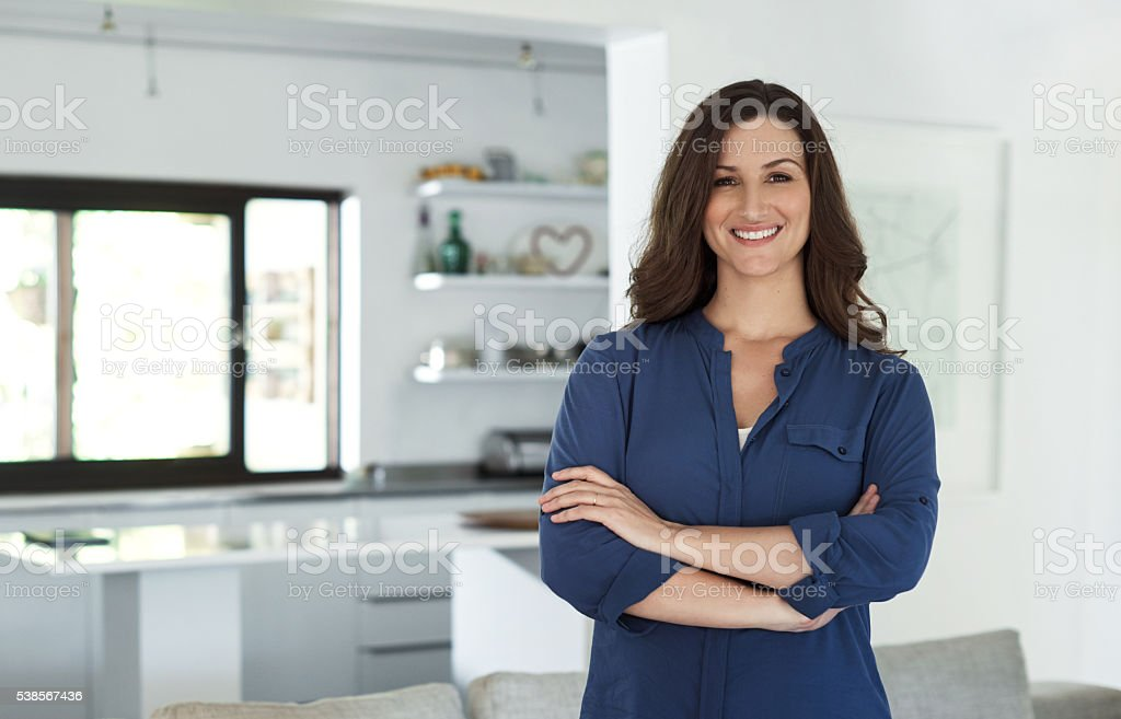 Proud of the home I've created for myself stock photo