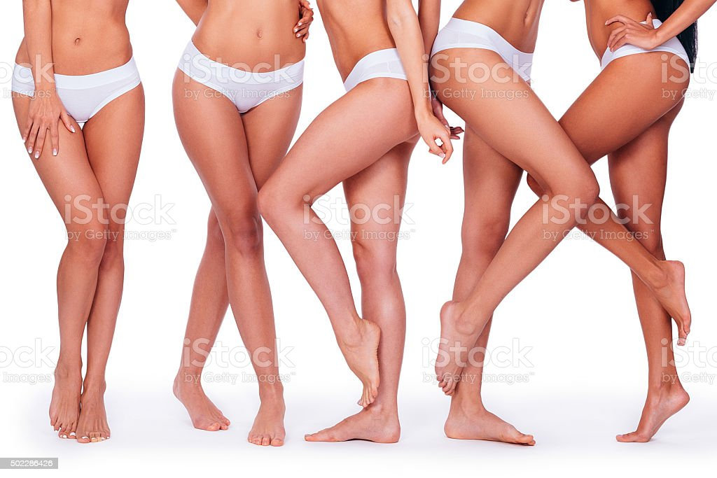 Proud of their perfect legs. stock photo