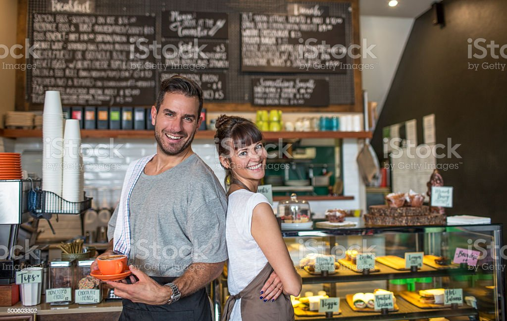 Proud owners of Cafeteria stock photo