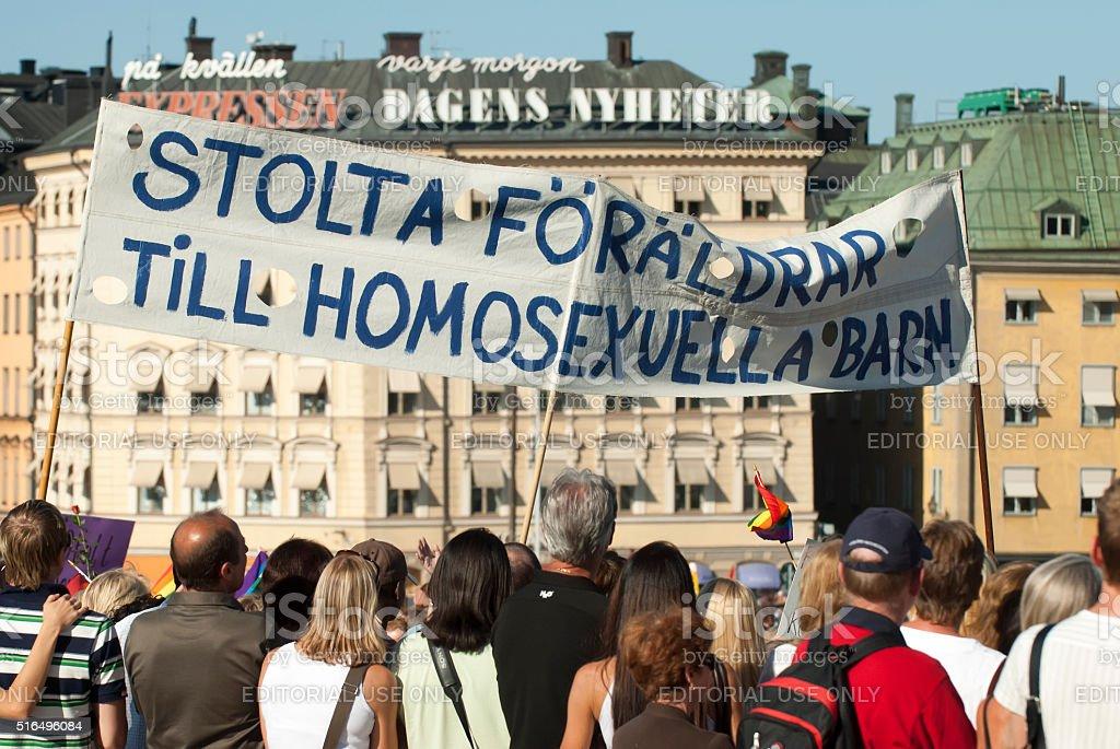 proud parents on pride parade stockholm sweden stock photo