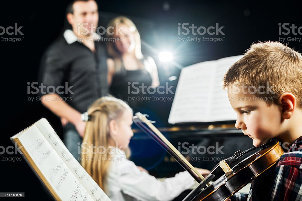 Proud parents with their children. royalty-free stock photo