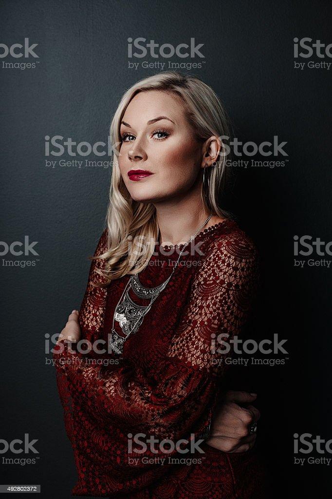 Proud pretty woman stock photo