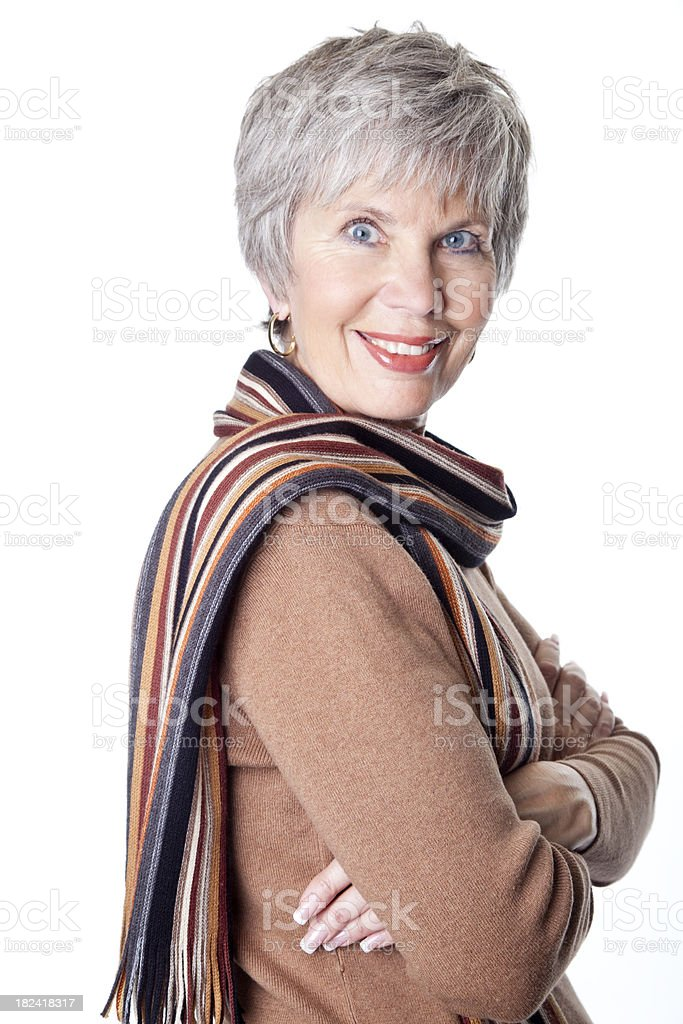proud senior business woman with arms crossed royalty-free stock photo