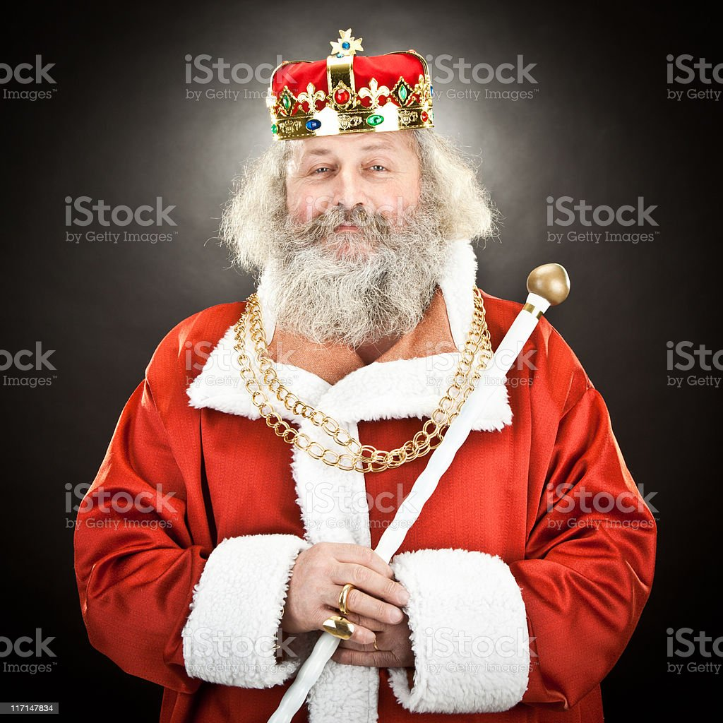 proud senior king or emperor with red cloak and crown stock photo