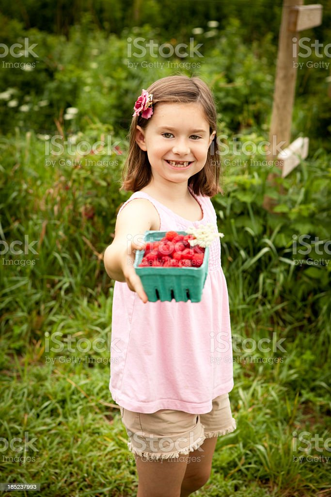 Proud Seven Year Old Girl Showing Raspberries She Picked royalty-free stock photo
