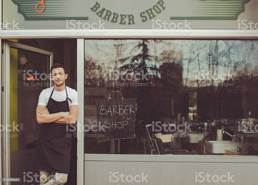 Proud small business owner stock photo