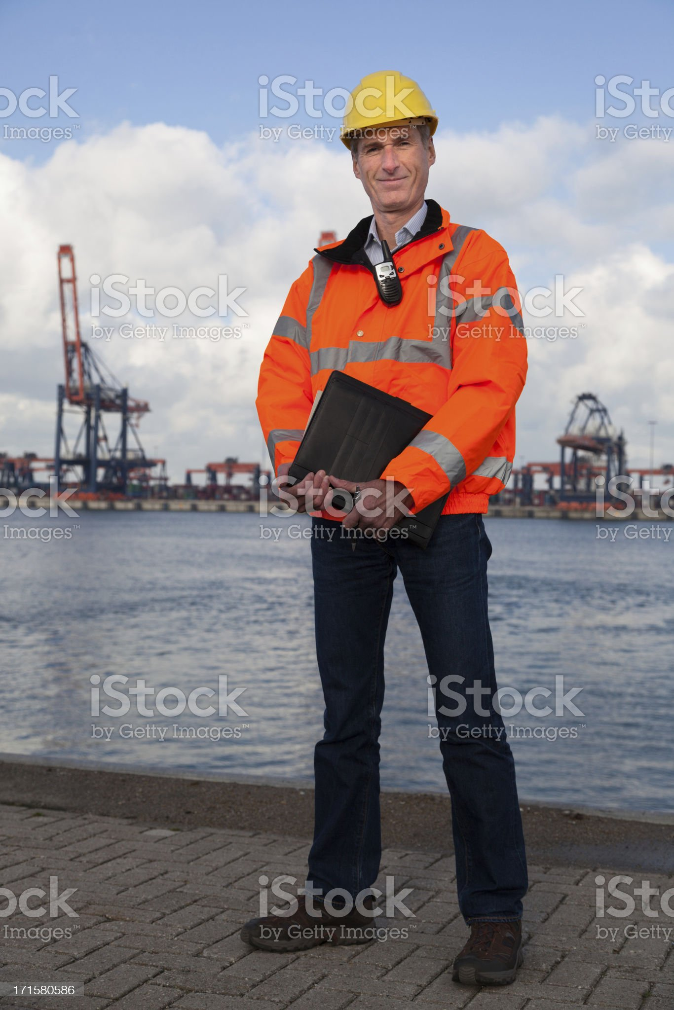 Proud smiling dock worker royalty-free stock photo