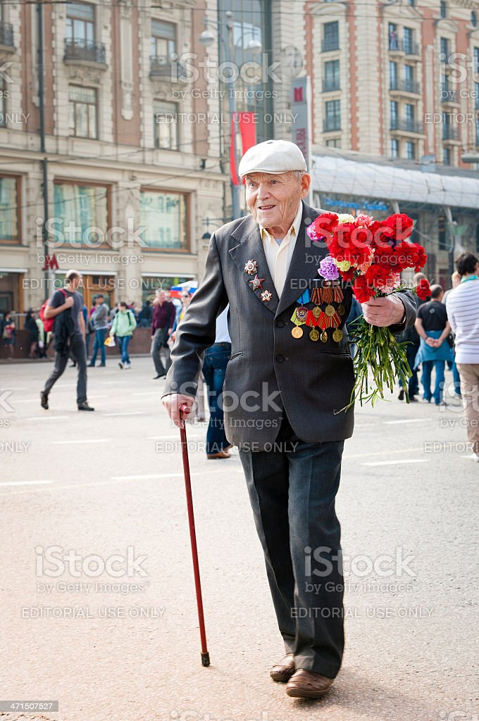 Proud Soldier Honored on Victory Day royalty-free stock photo