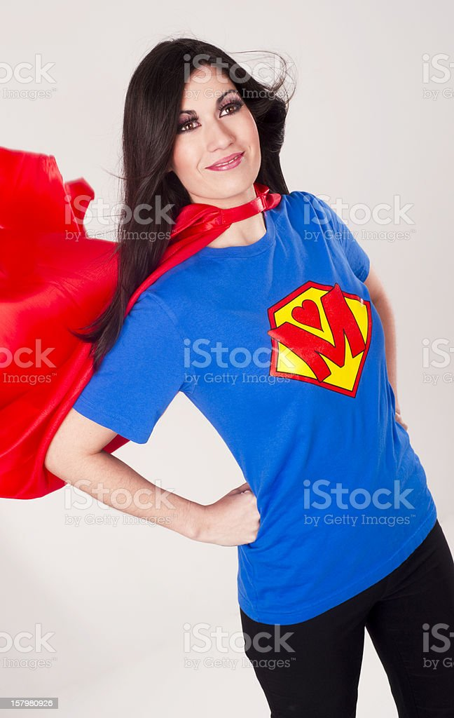 Proud Superhero Super Model Mother Mom Chestplate Red Cape stock photo