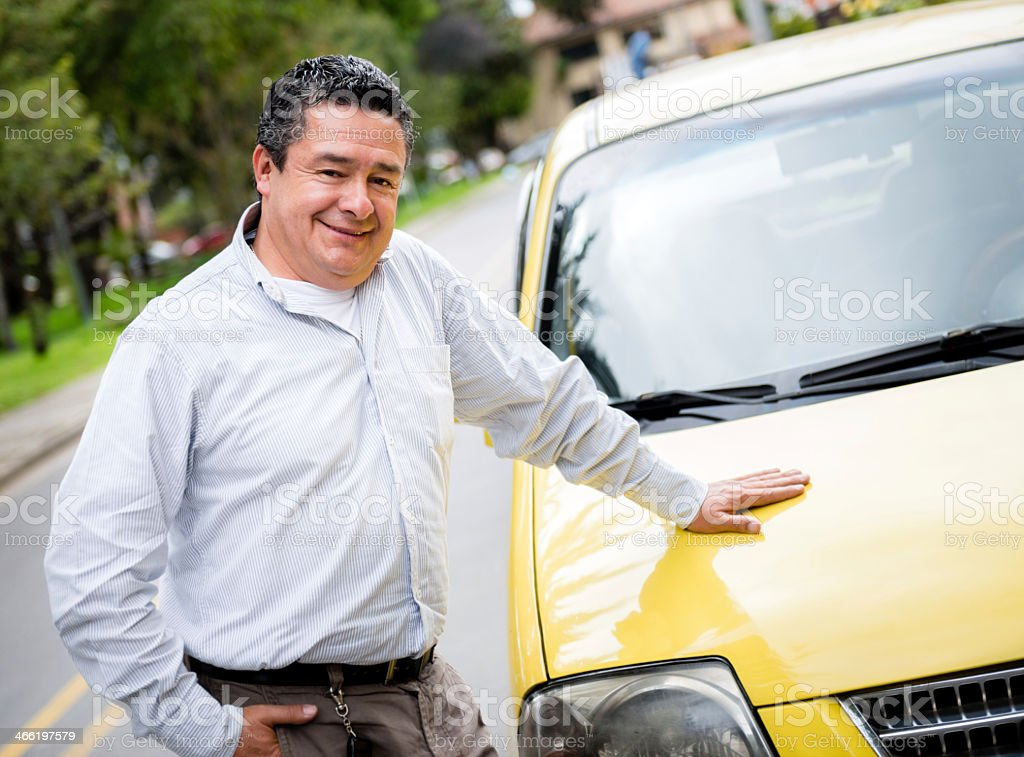 Proud taxi driver stock photo