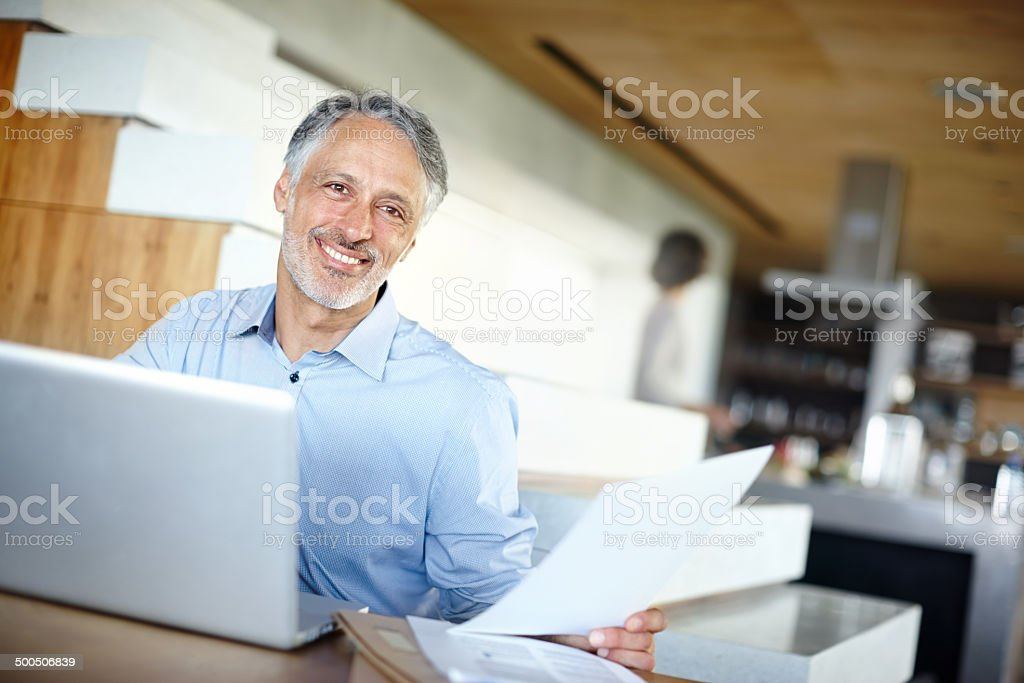Proud to be making a success of this business stock photo