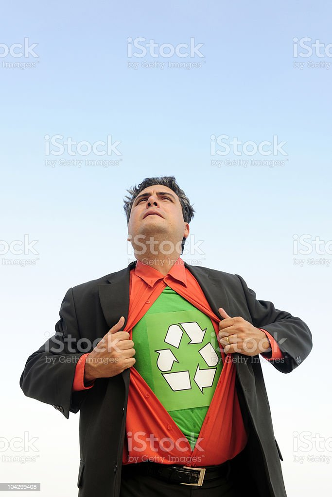 proud to recycle: businessman is a recycling hero royalty-free stock photo