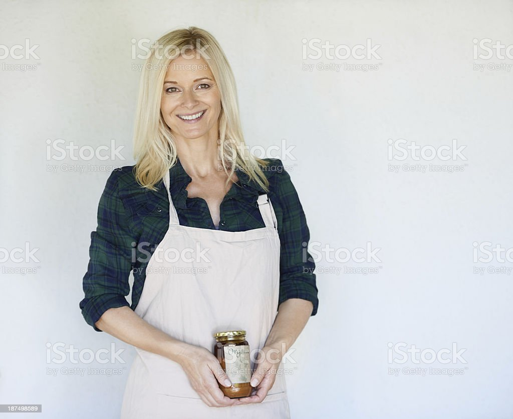 Proud to show off her product royalty-free stock photo