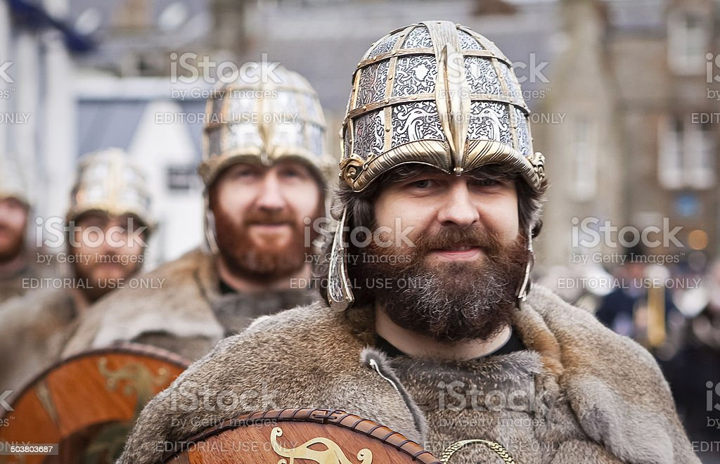 Proud Up Helly Aa Vikings Marching in the Ranks stock photo
