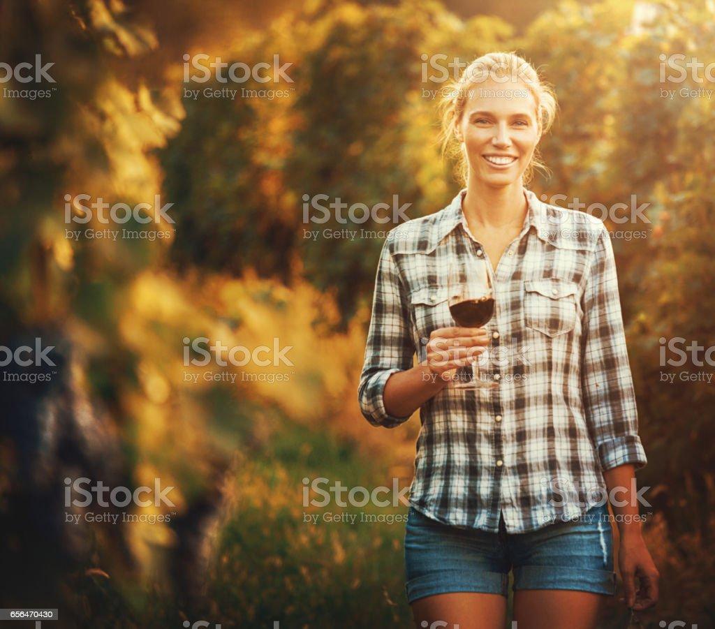 Proud vineyard owner. stock photo