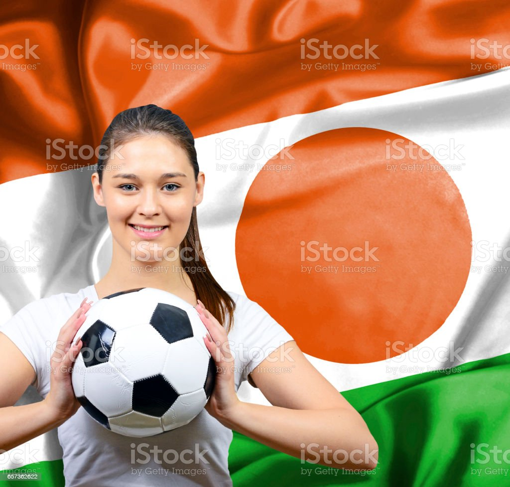 Proud woman football fan of Niger stock photo