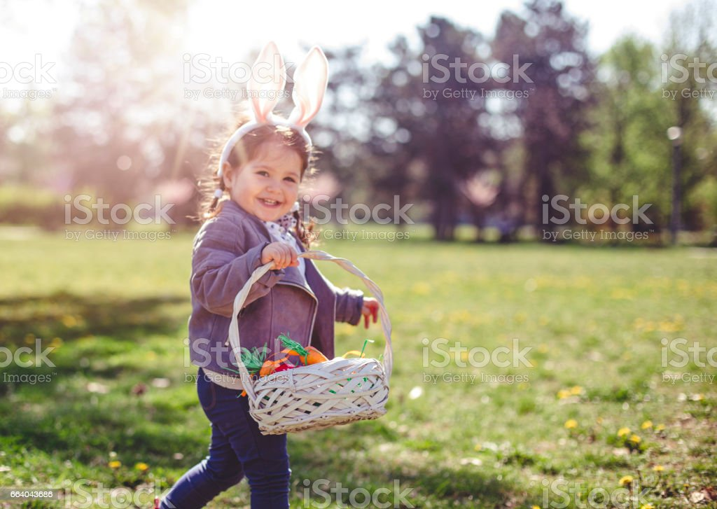 Proudly carrying Easter eggs stock photo
