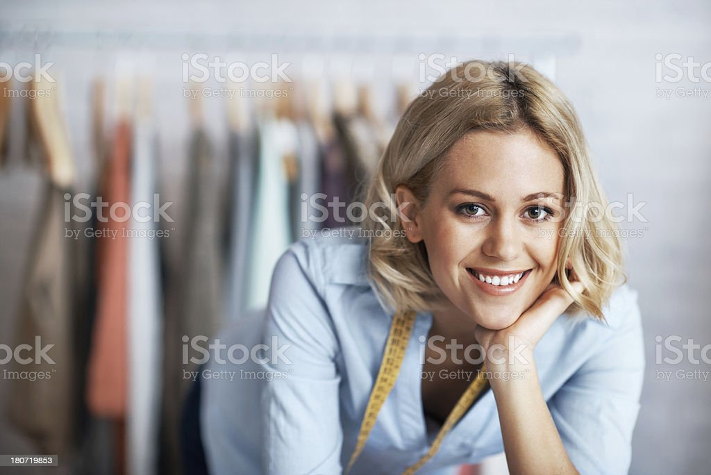 Proudly displaying her designs royalty-free stock photo
