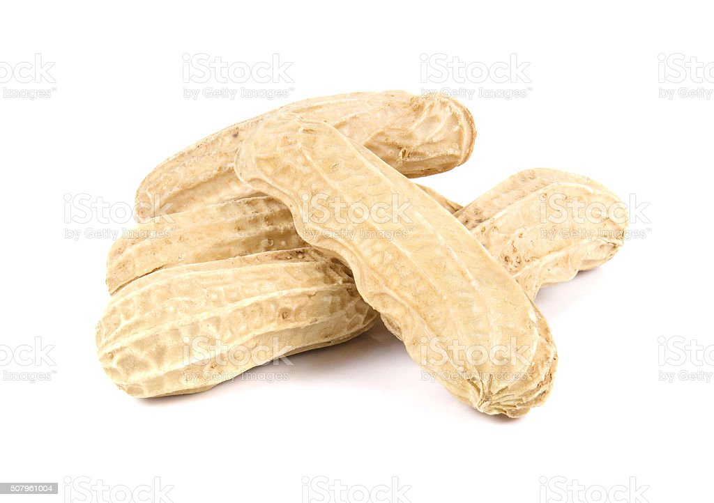 Proundnut,Peanut on white background. stock photo