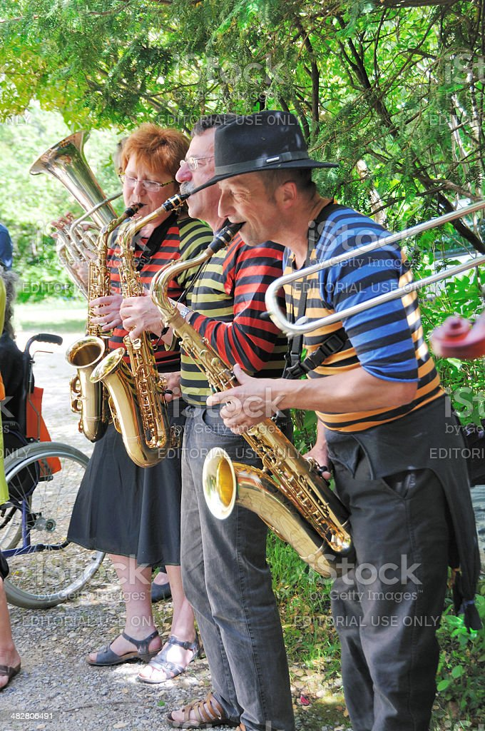 Provencal brass players at outdoor festival stock photo