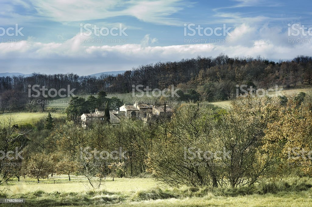 Provencal farmhouse in winter, France stock photo