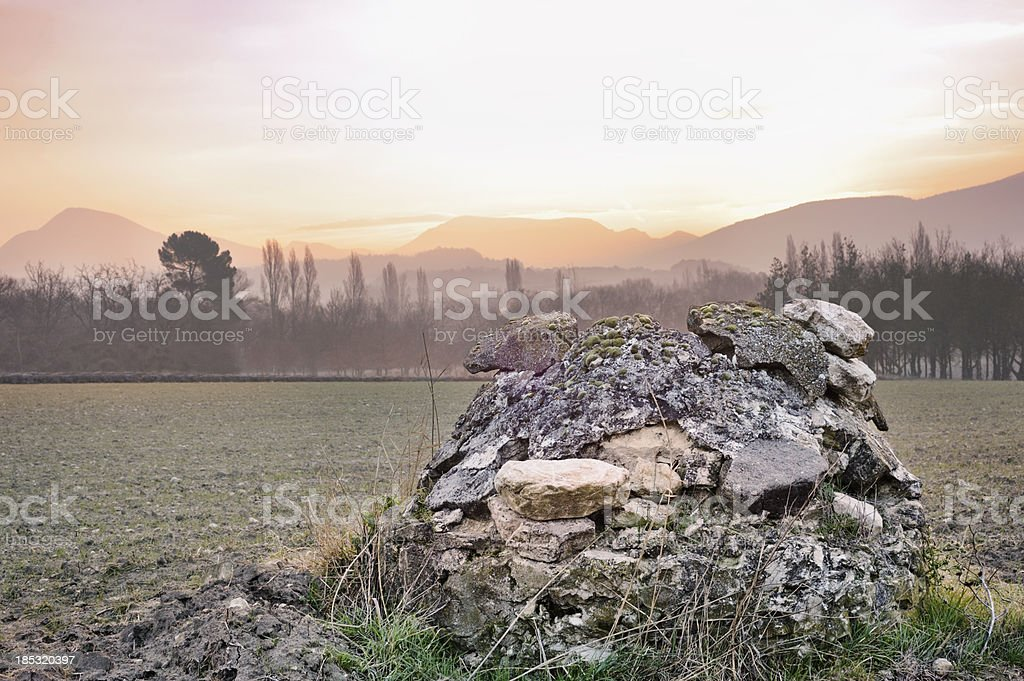 Provencal landscape in winter at dawn, France stock photo