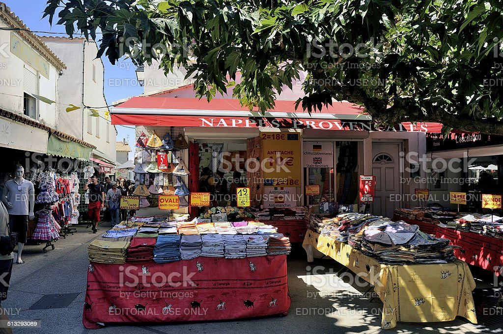 Provencal tablecloths and shop the colors of the Camargue stock photo