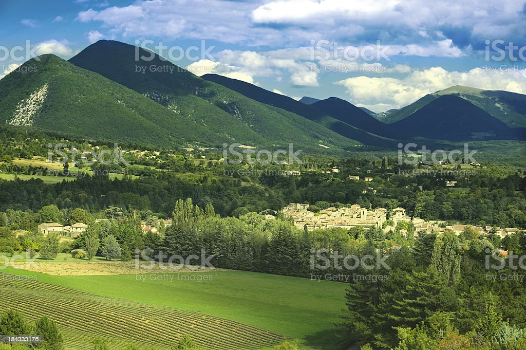 Provencal village nestling in valley, France stock photo