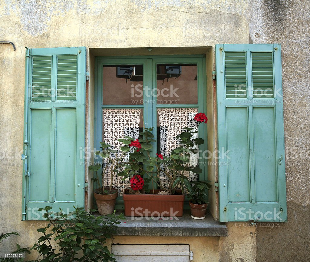 Provencal Window, Shutters and Flowers royalty-free stock photo