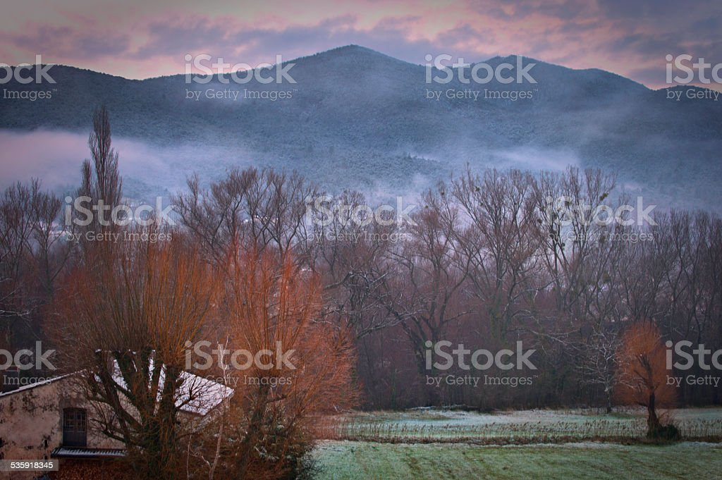 Provence in snow and mist stock photo