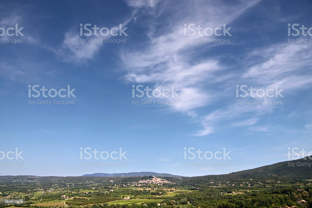 Provence landscape at Lacoste stock photo