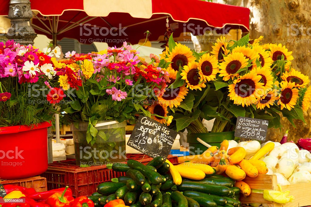 Provence market with food and flowers stock photo