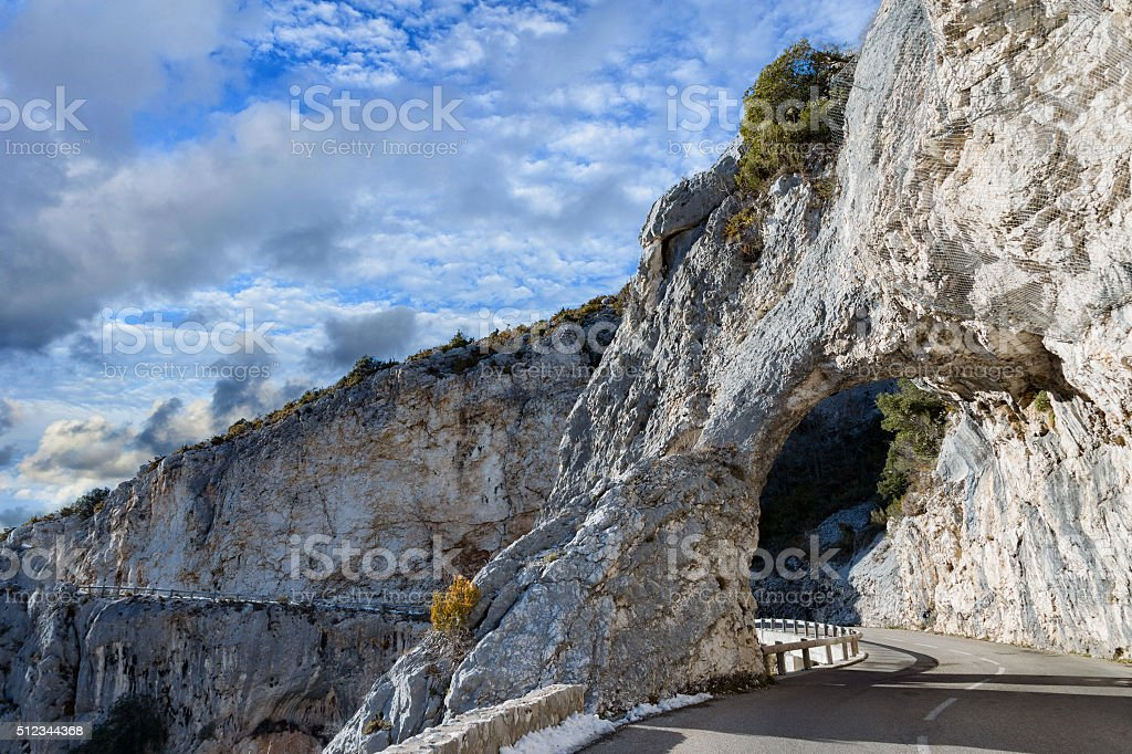 provence mountain road arches view stock photo