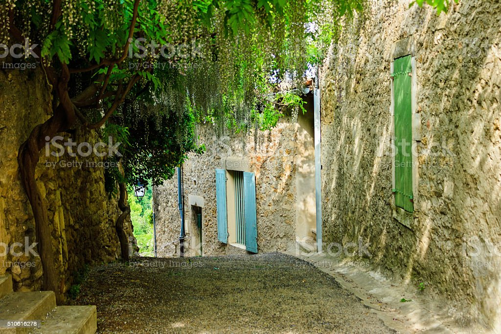 Provence - Picturesque alley in the little french town Grignan stock photo