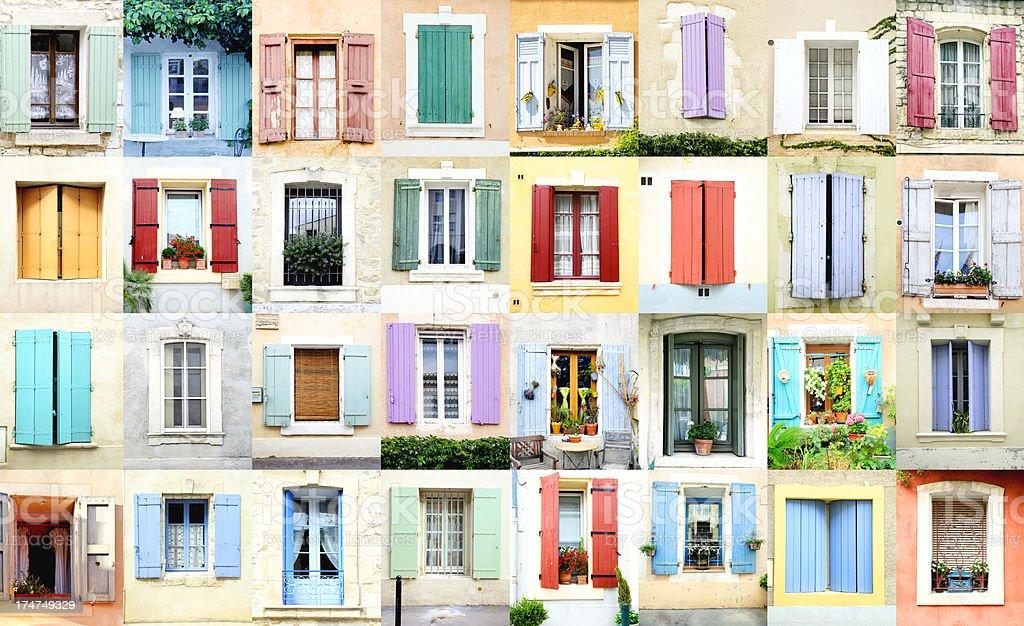 Provence rural windows stock photo