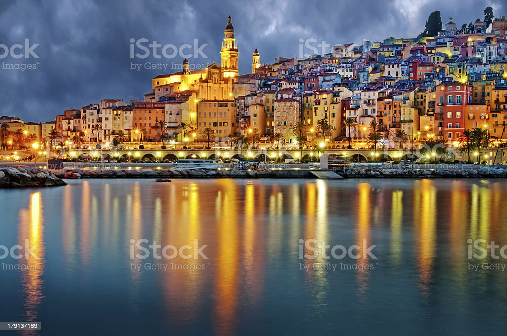 Provence village Menton after sunset royalty-free stock photo