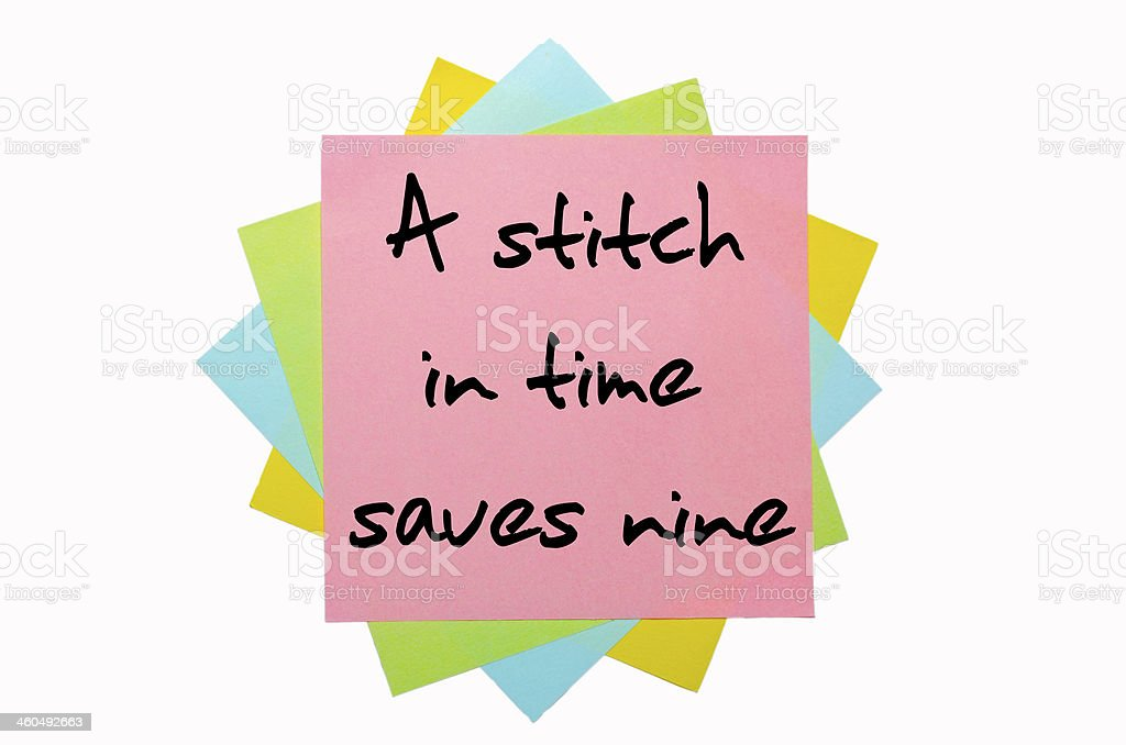Proverb  A stitch in time saves nine stock photo