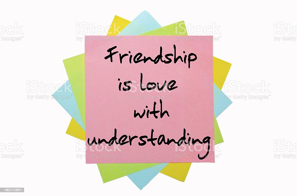 Proverb Friendship is love with understanding stock photo