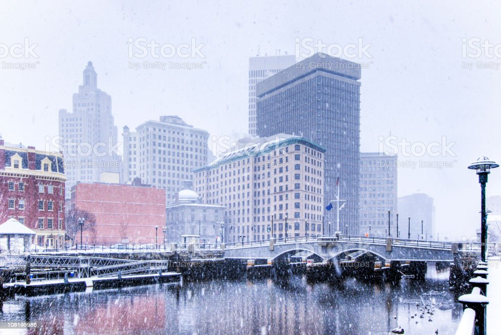 Providence in Snowstorm stock photo