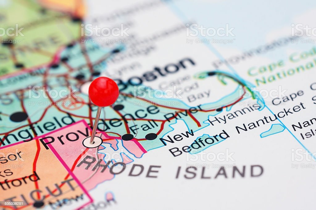 Providence pinned on a map of USA stock photo