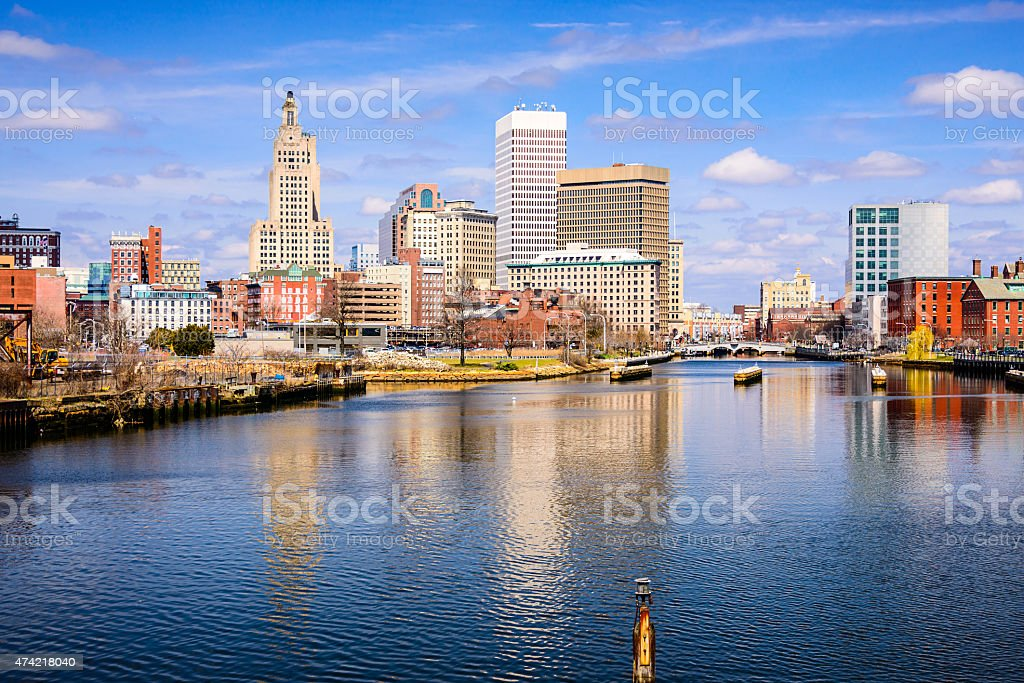 Providence River Skyline stock photo